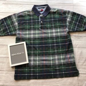 Tommy Hilfiger Mens XL Green Plaid Polo Shirt
